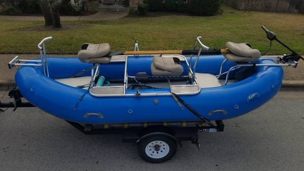 Photo 1439 Aire Raft w Full Fishing Frame (Custom made) and trailer - $8000