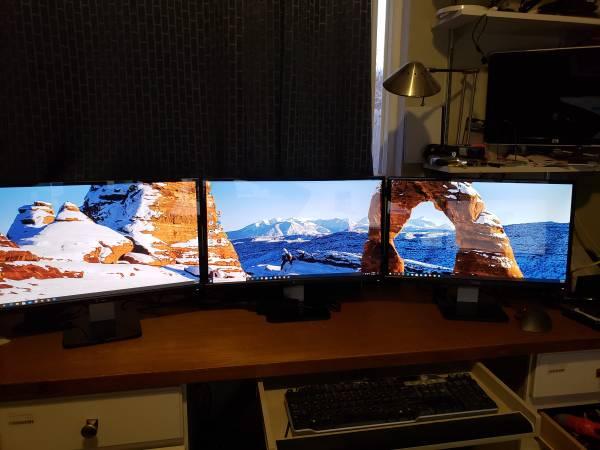 Photo Dell PC WITH 3 Monitors Quad-Core i5 3.5GHz, 8GB, SSHD, Win10 PRO - $300 (SW Highlands Ranch)