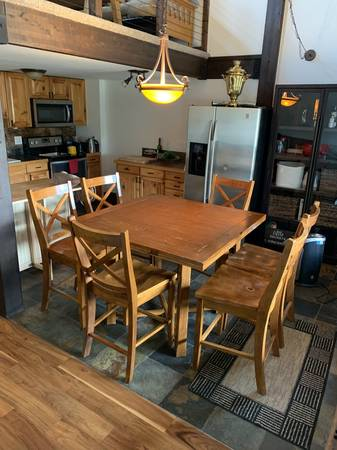 Photo Expandableexpansion Square Counter Height Dining Table and Chairs - $100 (Wildernest)