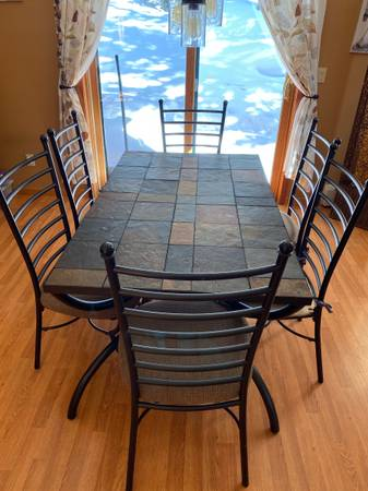 Photo Slate Tile Kitchen Table, Chairs, Coffee Table,  End Table (Breckenridge)