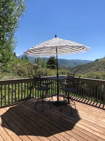 Photo Wrought iron high top patio furniture set - $425 (Avon)