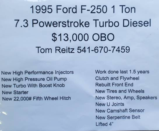 Photo 1995 Ford F250 1 Ton 7.3 Powerstroke Turbo Diesel - $13,000 (Rice Hill)