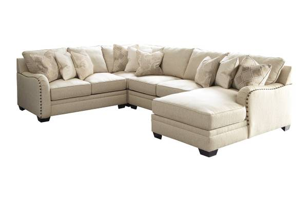 Photo 4-Piece Sectional with Chaise (Cream White) wnailheads - $2,400 (Medf - $2,400 (Medford)
