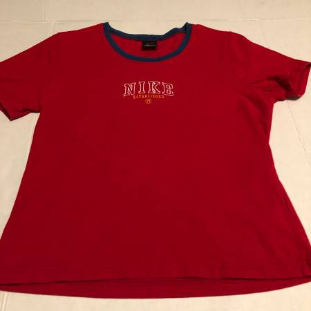 Photo Nike short sleeve red t-shirt with blue at collar  white design L - $8 (Albany - porch pickup off Waverly near Lexington Park)