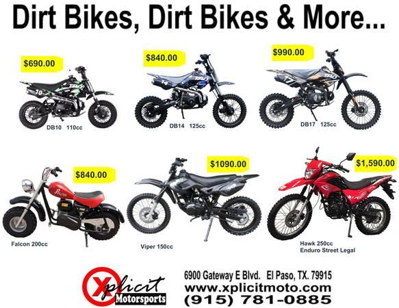 Photo 2020 NEW DIRT BIKES LOWEST PRICES IN EL PASO BEST DEALS - $490 (Xplicit Motorsports El Paso)
