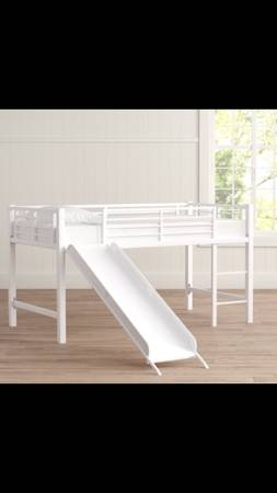 Photo Kids twin loft bed with slide - $150 (Hagerman)