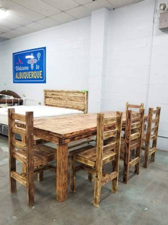 Photo Rustic Dining Table Set Has 5 Chairs And 1 Bench 8ft Long - $1,000 (Albuquerque)