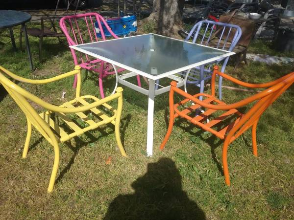 Photo 5 PIECE COLORFUL ALUMINUM PATIO SET - $75 (NORTH HIGHLANDS, RIO LINDA, ANTELOPE)