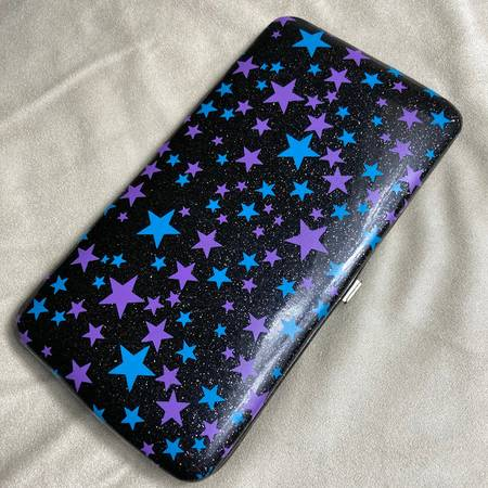 Photo Black Hinged Snap Wallet with Blue  Pink Stars (Ref24) - $5 (Arden Arcade)