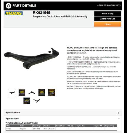 Photo Brand new set of Moog Front Control arms and front for Honda Ridgeline - $200 (Roseville)