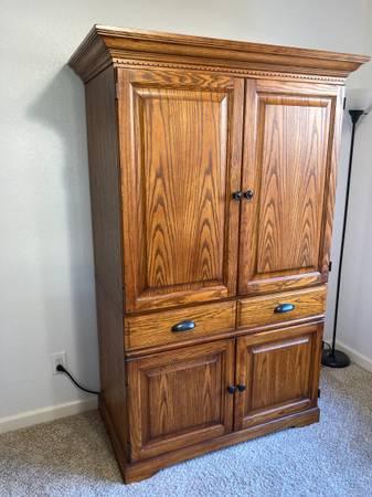 Photo Computer Desk Armoire Cabinet - $275 (Rocklin)