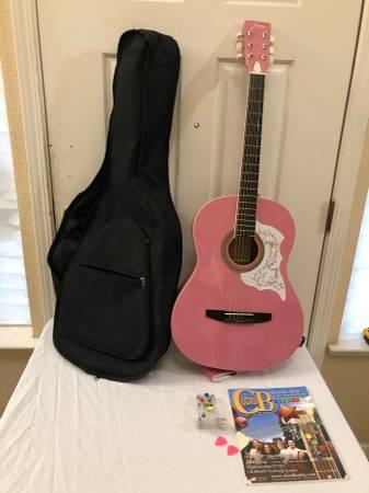 Photo Johnson JG-100 Pink Acoustic Guitar (Broken String) with Case Book  - $100 (Elk Grove)