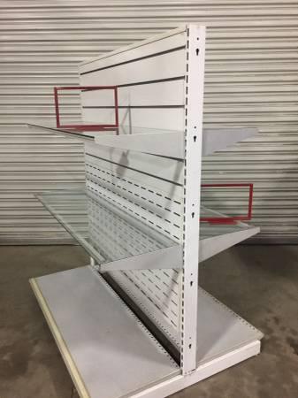 Photo Metal Slatwall Shelving Units with Steel Frame Glass Shelves - $400 (Rancho Cordova)