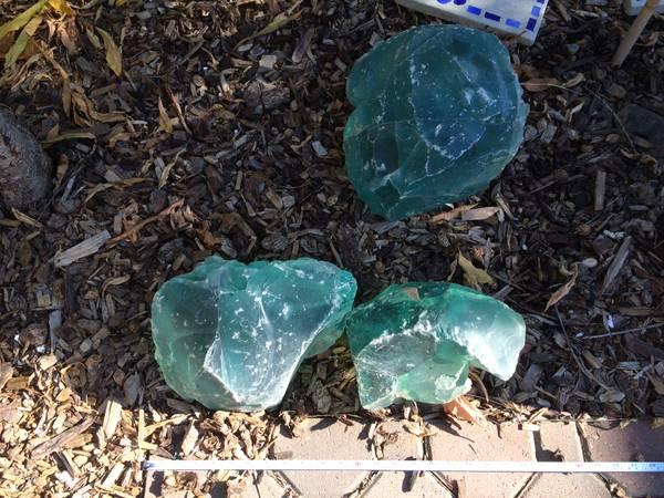 Rock Glass Green Slag Rocks, Slag Glass Chunks