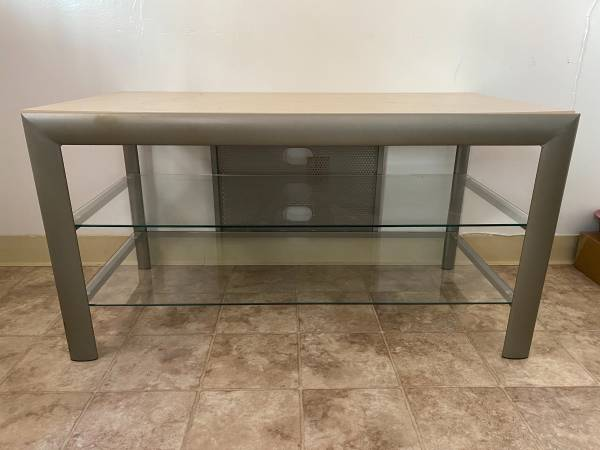 Photo TV Stand with Wood Top  2 Glass Shelves - $35 (Sacramento)