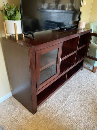 Photo Wood media center with glass doors - $300 (Citrus Heights)
