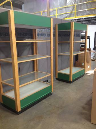 Photo Display units tall wood with 3 heavy glass shelves - $70 (Auburn)