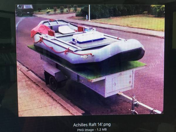 Photo Fourteen foot (1439) Achilles Whitewater Raft and Trailer for Sale - $2150 (Salem)