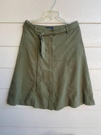 Photo Talbots A-line Midi Skirt Olive Green Button Down Size 10 - $30 (SE Salem)