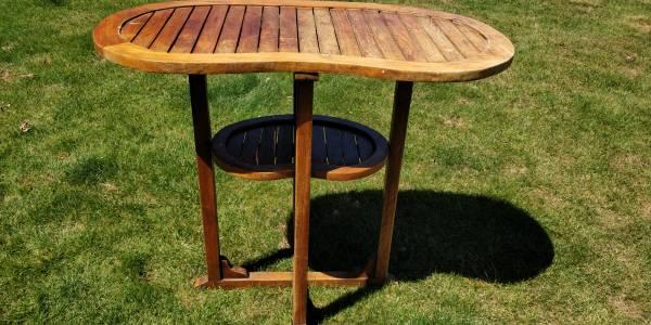 Photo Teak standing bar height table kidney shaped removable serving tray - $150 (NE Salem)