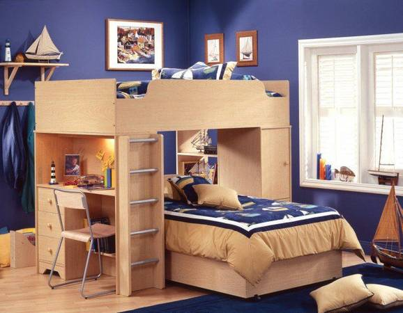 Photo Twin Size Loft Bed with Storage - $290