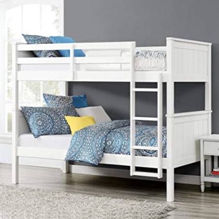 Photo White wooden twin over twin bunk bed frame - $190 (Salem)