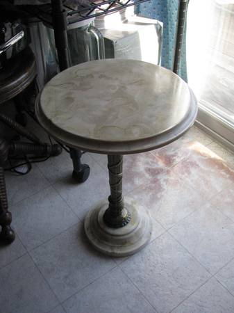Photo Corian LAMP TABLE or TELEPHONE TABLE with Heave Brass--13quot Diam X 18.5 - $90 (Lincoln)