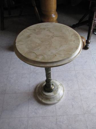 Photo Corian LAMP TABLE or TELEPHONE TABLE with Heavy Brass--13quot Diam X 18.5 - $95 (Lincoln)