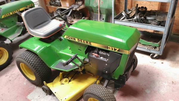 Photo John Deere 317 Garden Tractor with Mower Deck and Blade - $2,200 (Concordia, KS)