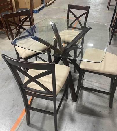 Photo 5 Pc Glass Top Dining Table Set Counter Height, 4 wood chairs Dk Brown - $175 (West Jordan)