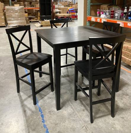Photo 5 Piece Black Dining Table Set Contemporary Counter Height 4 Chairs - $185 (West Jordan)