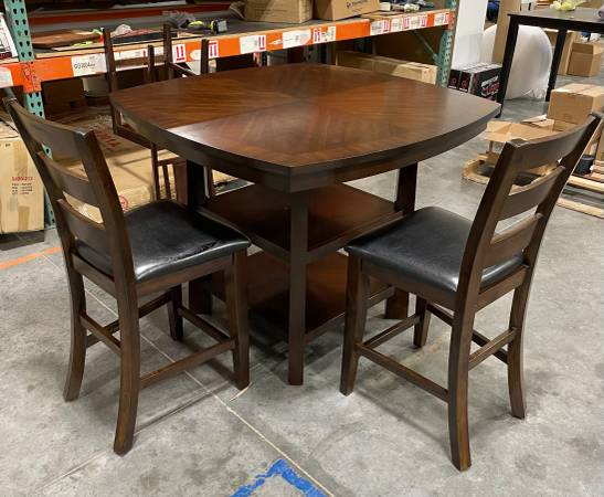 Photo 5 Piece Dark Brown Pub Height Dining Table Set Counter Height 4 Chairs - $250 (West Jordan)