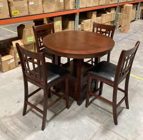 Photo 5 Piece Round Counter  Pub Height Dining Table Set Shelf  4 Chairs - $265 (West Jordan)