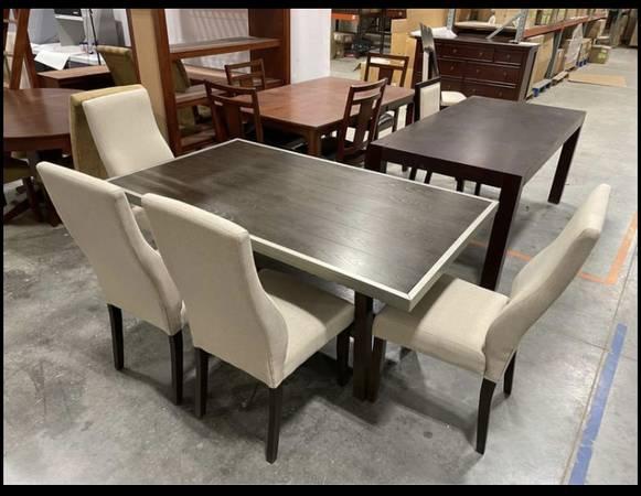 Photo 7 Piece Dining Table Set, Dark Brown w 6 Cream Padded Chairs - $390 (West Jordan)
