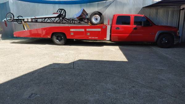 Photo Custom Red Chevy 3500 Car Hauler - $25,000 (Castro Valley)