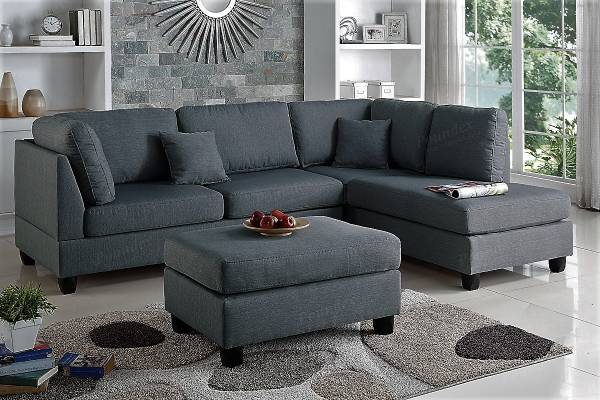 Photo NEW Gray SECTIONAL with OTTOMAN  PILLOWS - NEW IN BOX - $539 (slc warehouse)