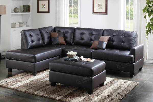 Photo NEW Leather SECTIONAL with OTTOMAN  PILLOWS - NEW IN BOX - $499 (slc warehouse)