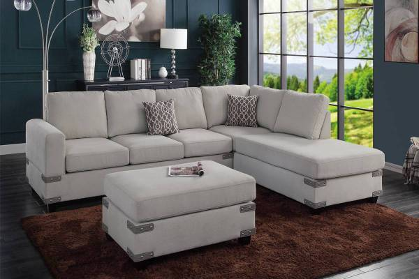 Photo NEW SECTIONAL with OTTOMAN  PILLOWS - NEW IN BOX - $599 (slc warehouse)