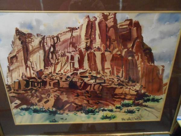 Photo R. J. Van Wagoner Western Red Rock Scene, Waterciolor Painting - $250 (West Yarmouth, MA)