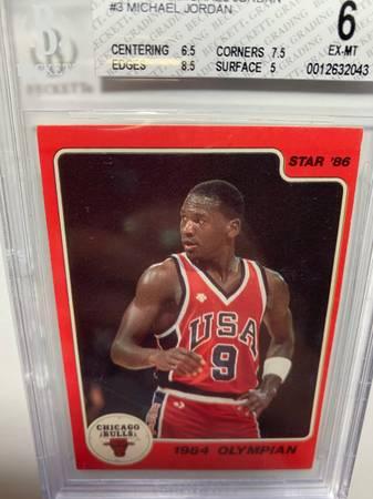 Photo 1986 Michael Jordan basketball rookie card BGS 6 (Sub 8.5) not PSA - $8,000 (Austin)