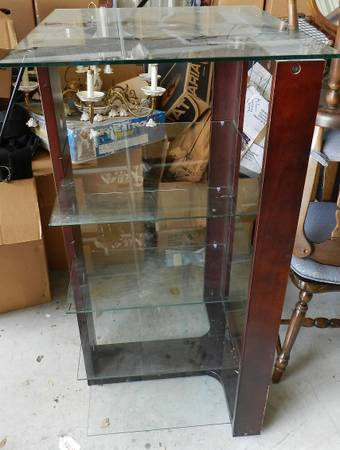 Photo 5 Shelf Display Stand Wood and Tempered Glass Shelves - $50 (Round Rock)