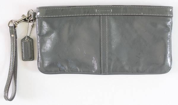Photo Coach Patent Leather Gray Clutch Handbag Purse 10quot x 5.25quot - $20 (NW Austin)