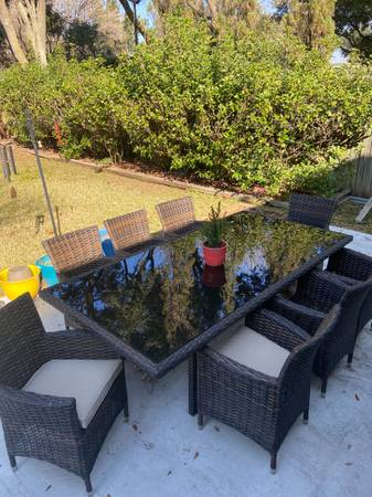 Photo NEW Outdoor Patio Dining Table with 8 Chairs  - $2,350