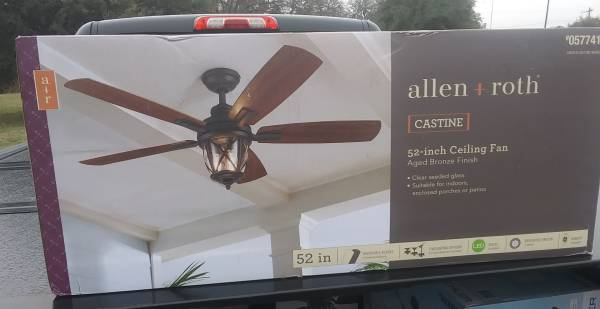Photo New Allen Roth Castine Oil-Rubbed Bronze 52-in LED IndoorOutdoor Fan - $125 (Airport)