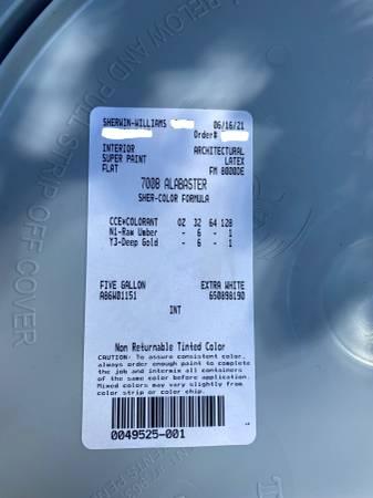 Photo Three buckets of Sherwin Williams 5 gallon SuperPaint latex Flat - $600 (Circle-C Ranch)
