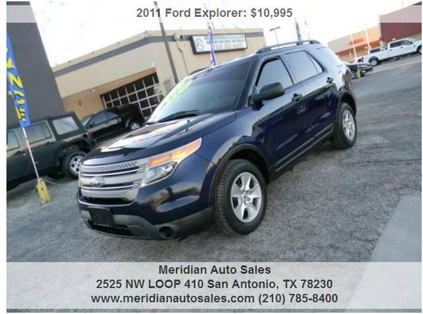 Photo 2011 FORD EXPLORER AWD 3rd ROW SEATING SUPER CLEAN PRICED TO SELL FAST - $10995 (2525 NW LOOP 410 SAN ANTONIO TX www.meridianautosales.com)