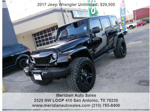 Photo 2017 JEEP WRANGLER UNLIMITED SAHARA LIFTED MUD WHEELS BLACK ONLY 30K - $29500 (2525 NW LOOP 410 SAN ANTONIO TX www.meridianautosales.com)