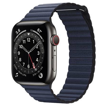 Photo Apple Watch Series 6 Graphite Stainless Steel 44mm Blue Leather Loop - $800 (San Antonio)