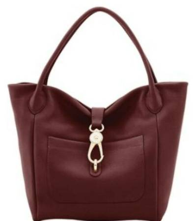 Photo NEW NWT DOONEY AND BOURKE BELVEDERE LOGO LOCK SHOULDER BAG Burgundy - $140 (stone Oak TPC Target 281)