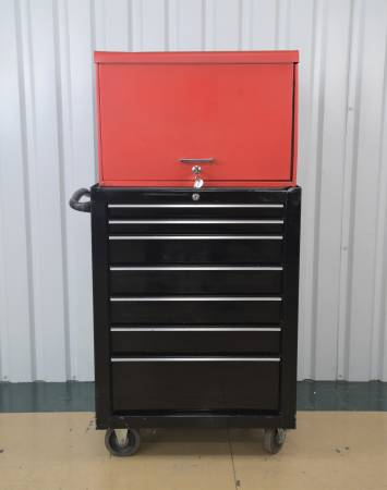 Photo Snap-On Red 9 Drawer Tool Box w Snap-On KRA2007FPC Single Bay Roll Cab - $595 (Converse)